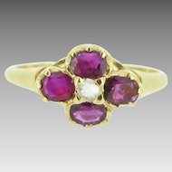 Stunning French Rubies and Diamonds ring, 9kt yellow gold