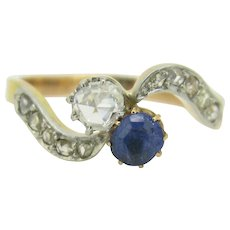 Lovely Toi et Moi, Bypass ring, Twist ring, Sapphire and rose cut Diamond ring, 18kt gold and platinum - Red Tag Sale Item