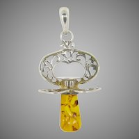 Antique little dummy pendant with amber ~ silver ~ c.1880