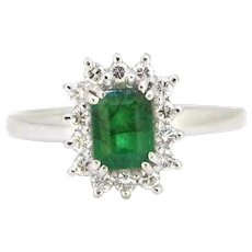 Vintage Emerald and Round Cut Cluster Ring, 18kt White Gold