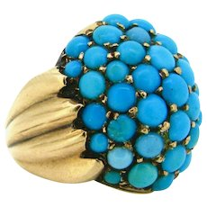 Antique Victorian Turquoises ring, 14kt yellow gold, circa 1880