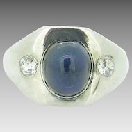French Gispy Sapphire cabochon ring ~ 2 old European cut diamonds, c. 1930