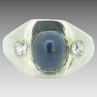 French Gispy Sapphire cabochon ring ~ 2 old European cut diamonds, c. 1930
