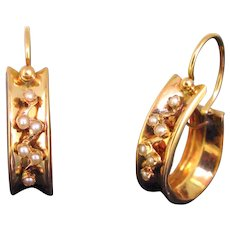 Antique Victorian Seed Pearls Earrings, 18kt rose gold, France