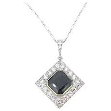 French Art Deco Sapphire and Diamonds Platinum Pendant Necklace