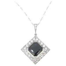 Art Deco 8ct Sapphire and Diamonds Pendant on Chain, Platinum, France circa 1925
