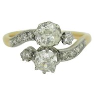 A beautiful Edwardian bypass diamonds ring, 18kt gold and platinum, c.1910