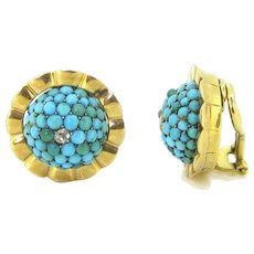 Retro Turquoises and Diamonds Clips Earrings, 18kt yellow gold