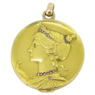 Stunning Art Nouveau French Mirror ~ Pendant, goddess Hera, 18kt gold