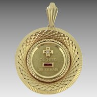 Vintage French Augis Medal, Plus qu'hier Moins que demain, 18kt gold, c.1960