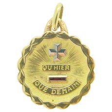 "Vintage ""+ Que hier - Que demain"" French pendant/ love charm by A. AUGIS"