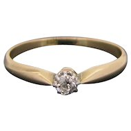 Antique Solitaire Old european cut diamond ring, 14kt gold and platinum