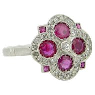 Art Deco Geometric Ruby and diamonds ring, platinum, c.1925