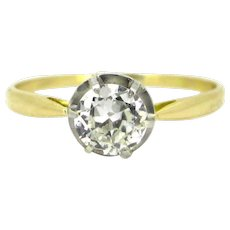Antique Old mine cut diamond ring, 18kt gold and platinum, circa 1910