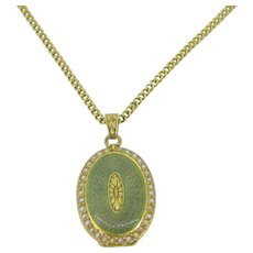Antique French Locket + chain, Enamel and seed pearls, 18kt gold, c.1900