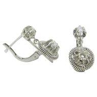 French Dormeuses earrings, diamonds 18kt white gold, c.1930