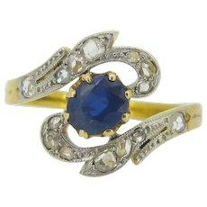 Antique French Art Nouveau Sapphire and rose cut diamonds ring, 18kt gold and platinum, c.1905