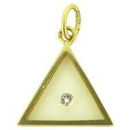 Vintage Modernist Diamond Pendant, 18kt gold, French, by MORABITO