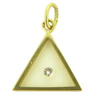 Vintage Modernist Diamond Pendant, 18kt gold, French, by MORABITO