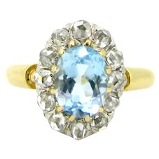 Antique Belle Epoque / Edwardian Aquamarine and diamonds ring, platinum, c.1905