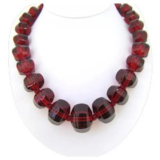 Baccarat Red Crystal Bead Collar Necklace