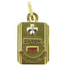 French Geometric Augis Medal, 18kt gold,