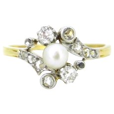 Art Nouveau French Pearl & Diamonds ring, 18kt gold and platinum, circa 1905