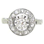 Stunning French Edwardian Diamonds ring, 18kt gold and platinum, c.1915