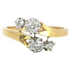 Art Nouveau French Diamonds crossover ring, 18kt gold and platinum, circa 1905