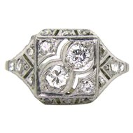 French Art Deco Diamonds ring, platinum, circa 1920