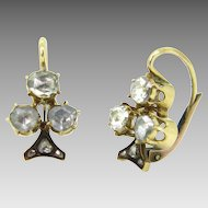 Lovely Rose cut Diamonds Trefoil / Shamrock / Clover Dormeuses, 18kt gold, circa 1880