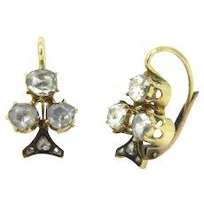 Lovely Rose cut Diamonds Trefoil / Shamrock / Clover Dormeuses, 18kt gold, circa 1880