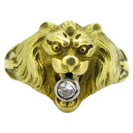 French Art Nouveau Lion head Diamond ring, 18kt gold & platinum, circa 1905