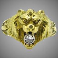 French Art Nouveau Lion head Diamond ring, 18kt gold & platinum, circa 1905