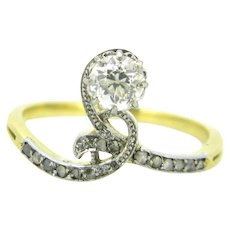 Antique Art Nouveau Diamond ring, 18kt gold & platinum, circa 1905