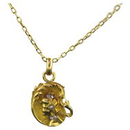 French Art Nouveau Diamonds pendant, charm, 18kt gold