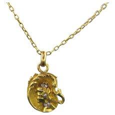 French Art Nouveau Diamonds pendant, charm, 18kt gold