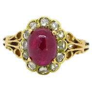 Victorian Ruby cabochon ring, rose cut, 18kt yellow and rose gold, circa 1880