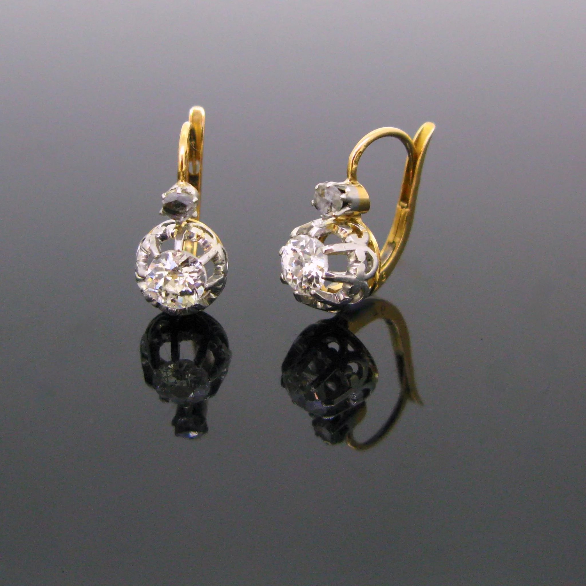 antique earrings stud l round baguette cut diamond vintage
