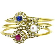 3 French Victorian Bangles, sapphire, ruby, pearl and diamonds, 18kt gold, circa 1880