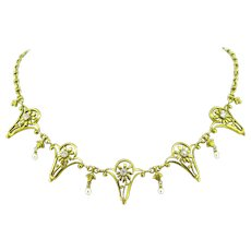 French Art Nouveau Diamonds necklace / draperie, 18kt gold and platinum, circa 1905