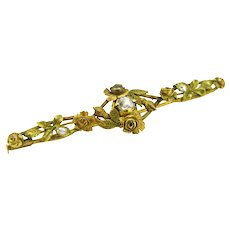 Beautiful Art Nouveau French Diamonds brooch, 18kt gold, circa 1900