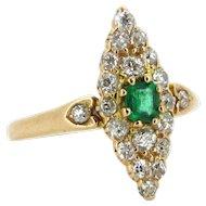 Ravishing Victorian Emerald and diamonds marquise ring, 14kt gold