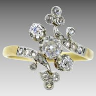 Antique French Belle Epoque clover / shamrock ring, 18kt gold and platinum, circa 1915