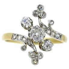 Antique French Belle Epoque clover / shamrock ring, 18kt gold and platinum, circa 1915