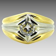 Vintage 2 tons gold diamond ring, 18kt gold, circa 1960