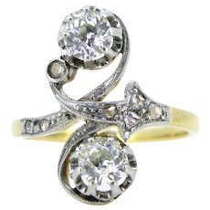 French Art Nouveau diamonds crossover ring, 18kt gold and platinum, circa 1905
