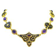 Vintage Archaeological Inspiration Amethyst Necklace, 18kt gold, by Nada le Cavelier
