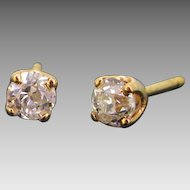 Vintage Diamond Studs, 18kt Yellow Gold