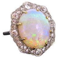 Opal Diamond Cluster Ring, Platinum, 1940s